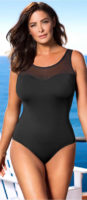 Czarny, jednoczęściowy kostium kąpielowy z paskiem usztywniającym w talii, który mocno trzyma się na piersiach