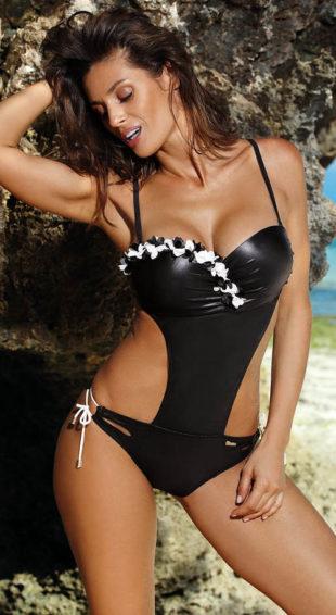 Lśniący, czarny, jednoczęściowy strój kąpielowy push-up z kwiatowymi zdobieniami