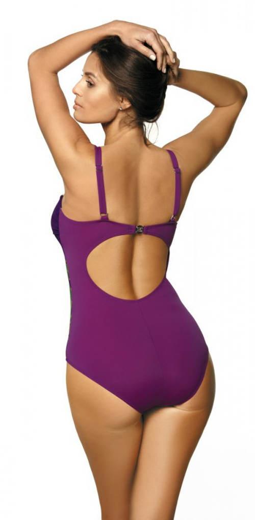 Fioletowy jednoczęściowy kostium kąpielowy z regulowanymi ramiączkami