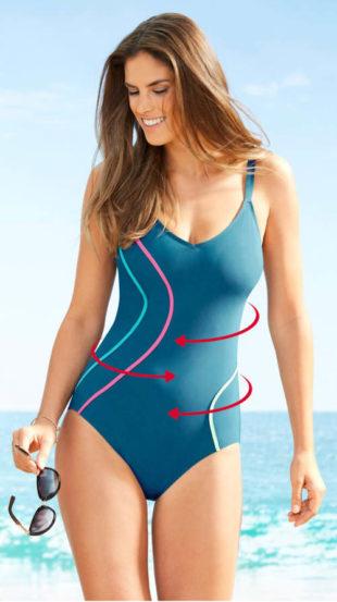 Modelujący damski jednoczęściowy kostium kąpielowy z wyszczuplającymi paskami