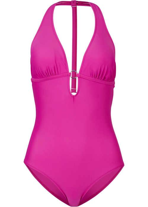 Stylowy kostium kąpielowy w efektownym kolorze z seksownym dekoltem
