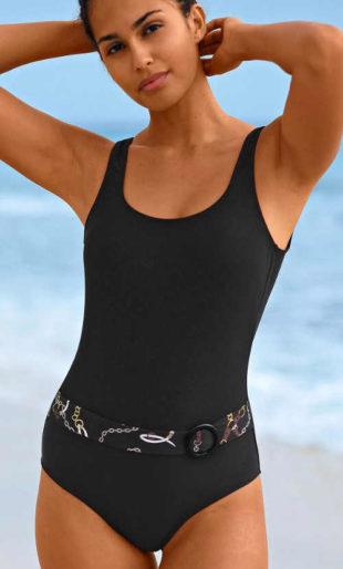 Czarny kostium jednoczęściowy damski z paskiem