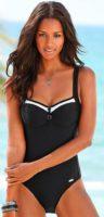 Czarny kostium kąpielowy z kontrastującymi białymi brzegami