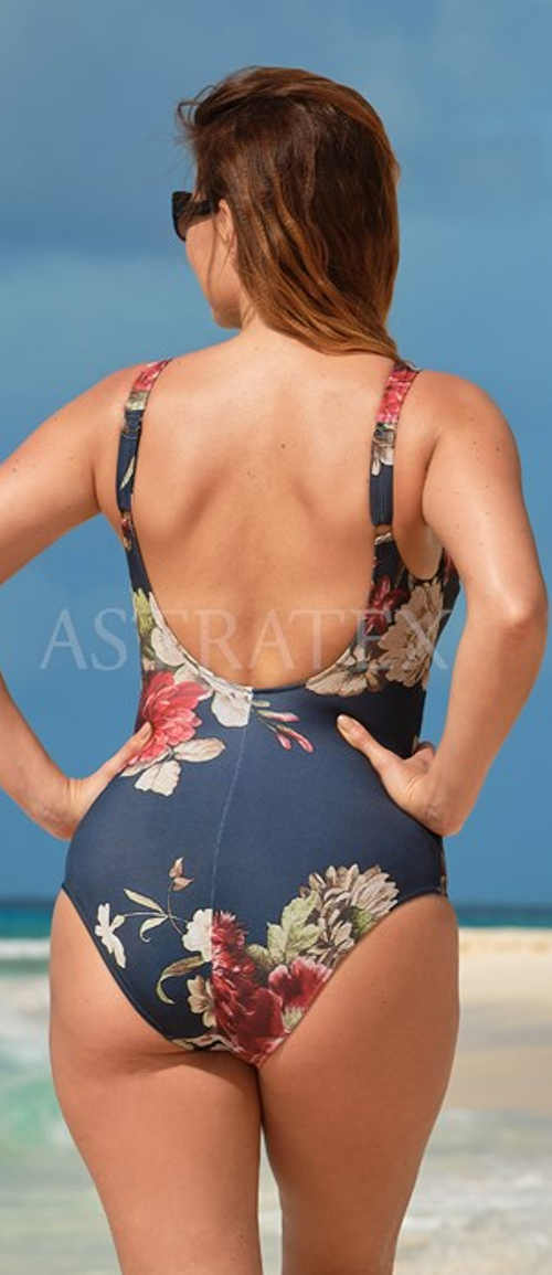 Elegancki, jednoczęściowy kostium kąpielowy w kwiatki