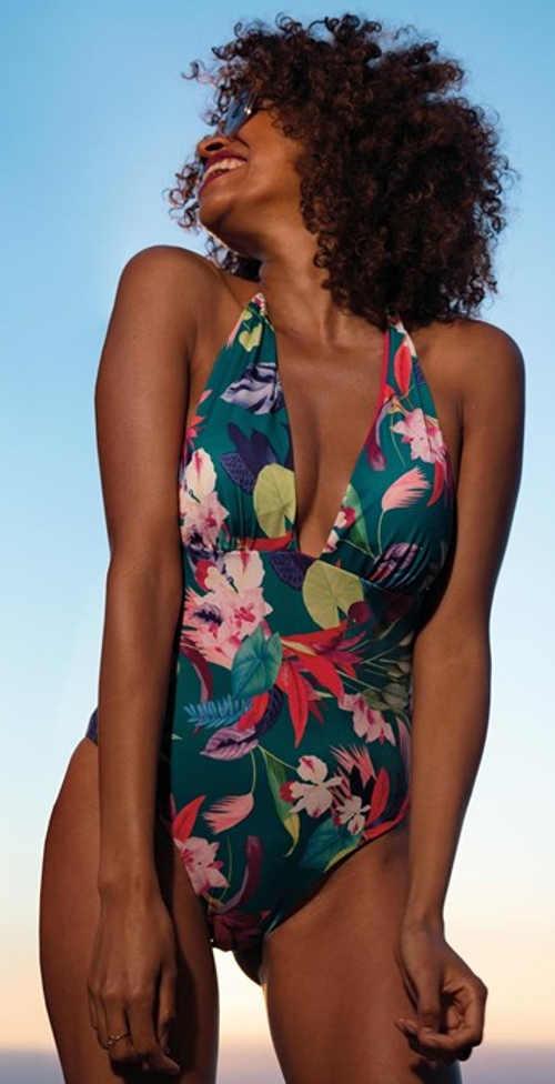 Jednoczęściowy damski kostium kąpielowy z głębszym dekoltem i odrobiną egzotyki