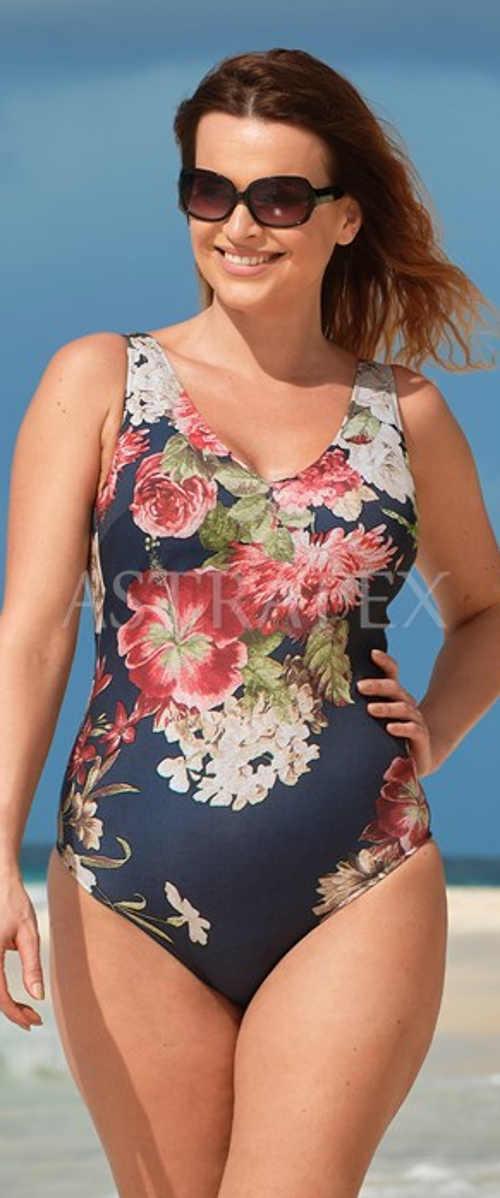 Jednoczęściowy damski kostium kąpielowy z kontrastowym kwiatowym nadrukiem