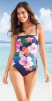 Jednoczęściowy kostium kąpielowy w kwiaty z górną częścią typu bandeau