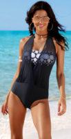 Warstwowy damski jednoczęściowy kostium kąpielowy maskujący brzuch