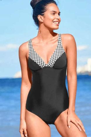 Elegancki damski jednoczęściowy kostium kąpielowy z nowoczesnym nadrukiem