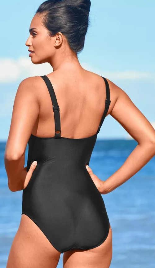 Jednoczęściowy kostium kąpielowy z nadrukiem w kostkę
