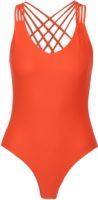 Pomarańczowy jednoczęściowy kostium kąpielowy ze wstążkami z tyłu