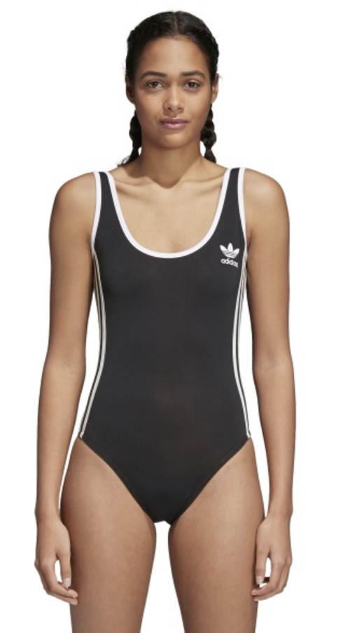 Czarny strój kąpielowy Adidas z białymi wykończeniami