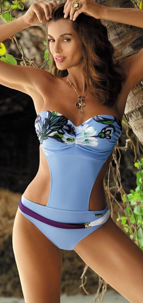 Jednoczęściowy kostium kąpielowy bez ramiączek z miseczkami push-up