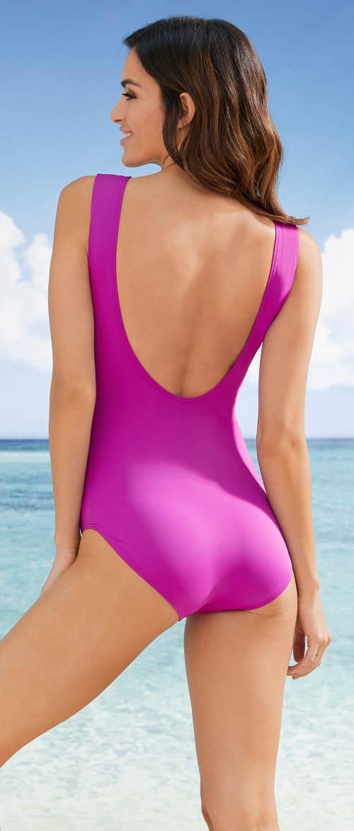 Jednoczęściowy kostium kąpielowy w kolorze jasnego fioletu