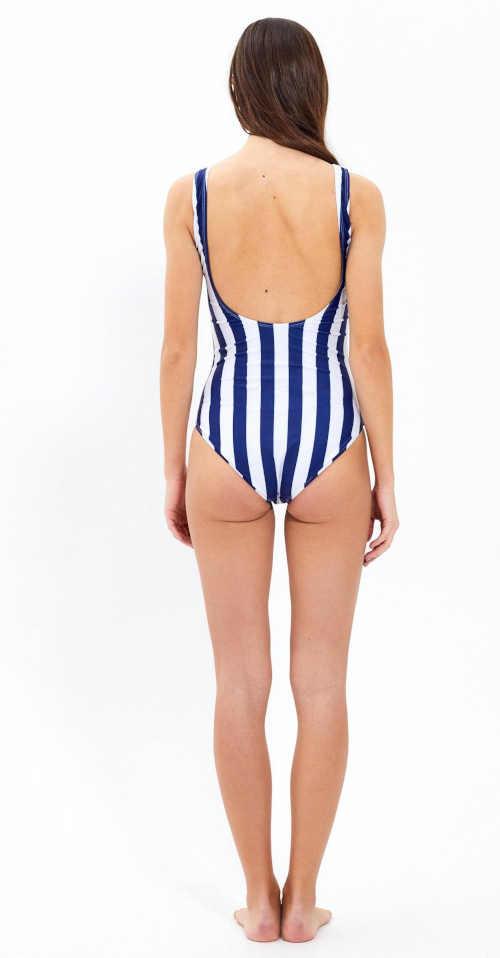 Jednoczęściowy kostium kąpielowy w paski dla kobiet