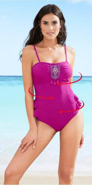 Jednoczęściowy kostium kąpielowy z falbankami po bokach