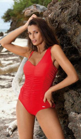Jednoczęściowy kostium kąpielowy z paskami z przodu i asymetrycznymi ramiączkami