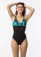 Jednoczęściowy, wzorzysty kostium kąpielowy z podwójną regulacją ramiączek.