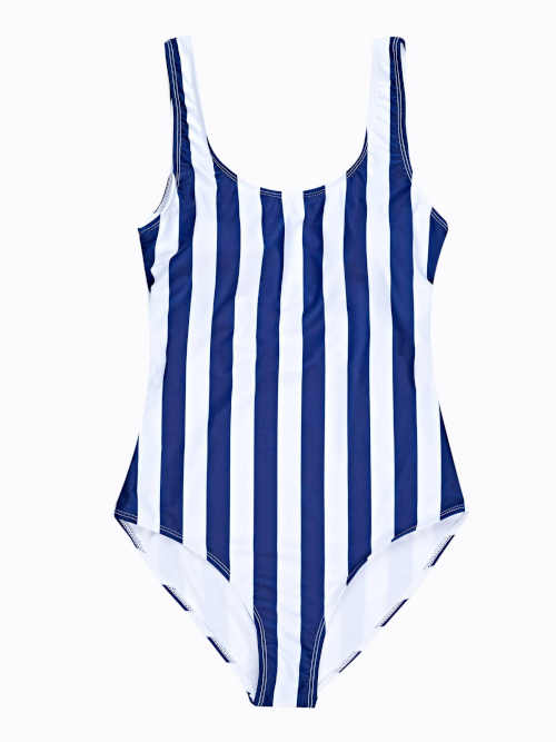 Niebiesko-biały kostium kąpielowy w pełnej długości