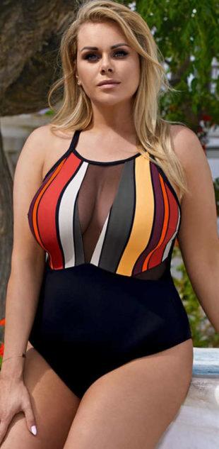 Wyrafinowany jednoczęściowy kostium kąpielowy dla kobiet z dużym biustem