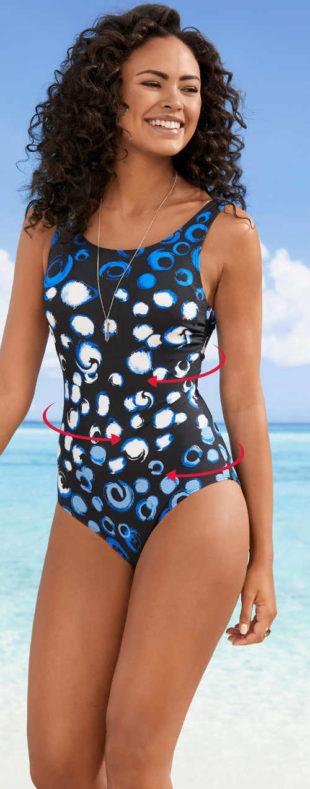 Wyszczuplający jednoczęściowy kostium kąpielowy w kropki