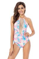 Wzmocniony kostium kąpielowy o seksownym kroju w kolorze niebieskim i różowym.