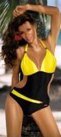 Żółto-czarne monokini Marko z paskami na szyję