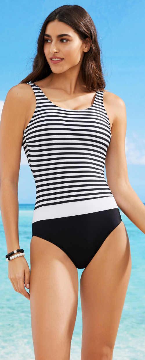 Czarno-biały jednoczęściowy kostium kąpielowy w paski wzór więzienny