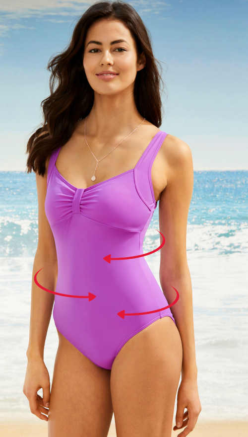 Elegancki, jednoczęściowy kostium kąpielowy z paskiem do ściągania.