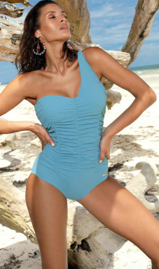 Jasnoniebieski jednoczęściowy kostium kąpielowy z paskiem na brzuch