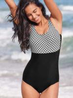 Jednoczęściowy kostium kąpielowy w nowoczesnym wzorze w kratę z efektem wyszczuplającym.