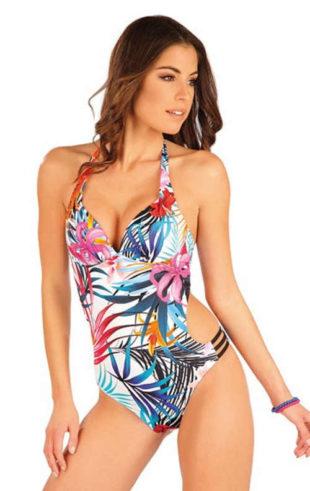 Jednoczęściowy kostium kąpielowy z kwiatowym wzorem i rozcięciem po bokach