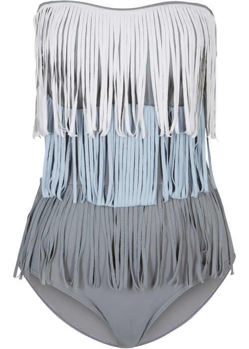 Kostium kąpielowy o wyrafinowanym kroju z frędzlami i odpinanymi ramiączkami