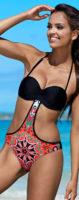 Jednoczęściowy kostium kąpielowy typu bardotka o atrakcyjnym kroju