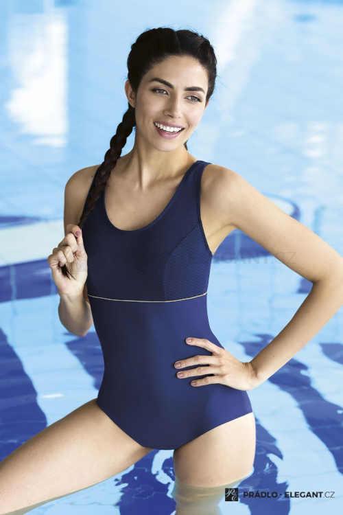 Jednoczęściowy, lekko wzmocniony, luksusowy kostium kąpielowy w kolorze niebieskim
