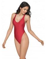 Jednoczęściowy seksowny kostium kąpielowy typu stringi w efektownym czerwonym kolorze