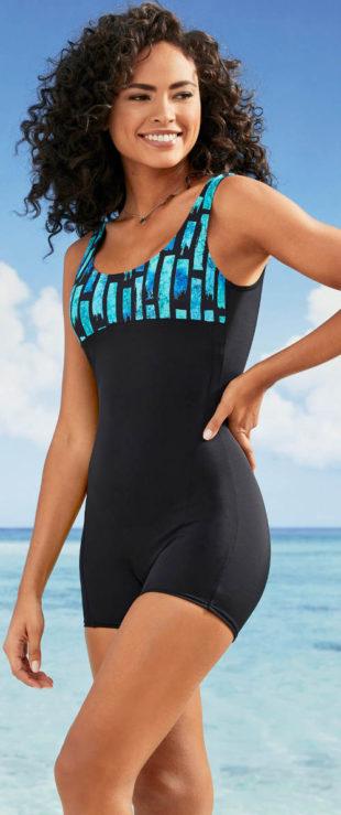 Damski jednoczęściowy kostium kąpielowy w stylu retro