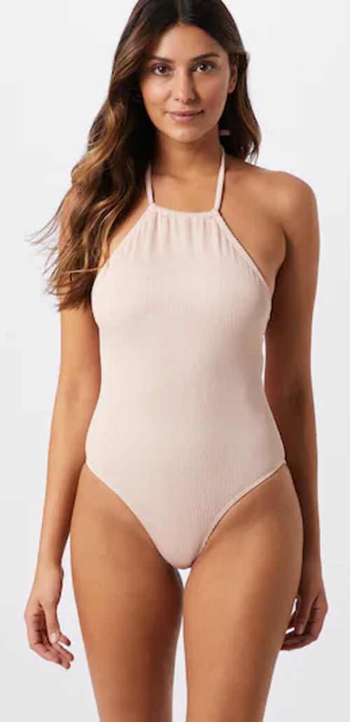 Nowoczesny dwuczęściowy kostium kąpielowy damski w kolorze jasnoróżowym z wiązaniem na szyi
