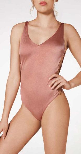 Połyskujący jednoczęściowy kostium kąpielowy Calzedonia w kolorze cielistym