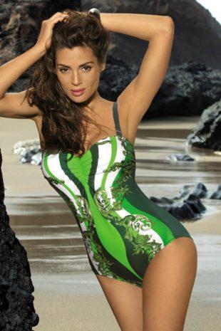 Zielony jednoczęściowy kostium kąpielowy Marko Miriam z egzotycznymi wzorami wyszczuplającymi